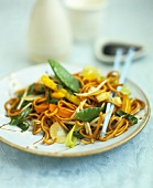 Stir-fried noodles and vegetables