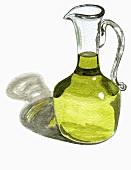 Olive oil in glass jug (Illustration)