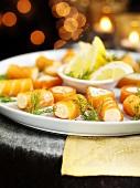 Smoked salmon rolls for Christmas