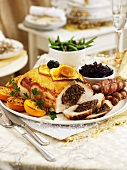 Christmas roast turkey stuffed with fruit