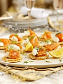 Christmas blinis with smoked salmon