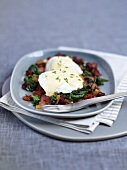 Poached eggs with chard