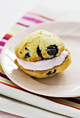 Whoopie Pie with blueberries on a plate