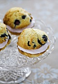 Whoopie Pie with blueberries on a crystal bowl