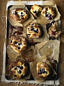 Blueberry buns on a baking tray