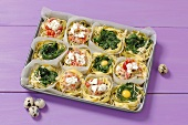 Pasta nests filled with spinach, smoked salmon and egg