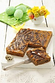 Mazurek with caramel frosting and chocolate (Easter cake, Poland)
