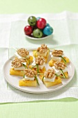 Grilled pineapple with feta and walnuts for Easter