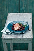 Turbot with pickled cherries and beetroot