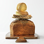 Three varieties of bread, stacked