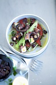 Pulpo salad with roasted peppers and celery