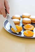 Macaroons with passion fruit pulp