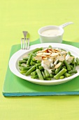 Green beans with Hollandaise sauce and slivered almonds