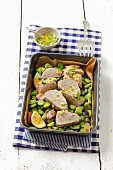 Pork fillet with lima beans and herb sauce