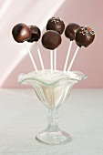 Cake pops with chocolate icing
