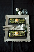 Leek in vinaigrette with fried quail egg for Christmas