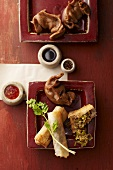 Spring rolls and jiaozi (pasta parcels, China)