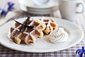 Waffles with cream and vanilla sugar