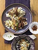 Duck breast strips with creamy chanterelle mushrooms