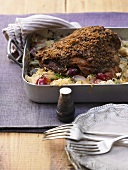 Turkey legs with sauerkraut and grapes
