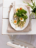 Spring salad with asparagus, egg and spinach