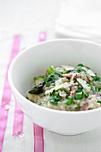 Risotto with peas, asparagus and ham