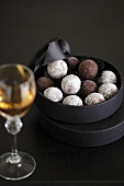 Chocolate truffles in box