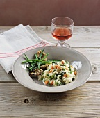 Vegetable risotto with grilled artichokes and bean salad