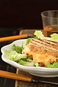 Gegrilltes Käse-Tomaten-Sandwich auf Salatteller