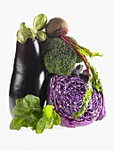 Veggie Still Life with Eggplant, Beet, Cabbage, Broccoli, Greens and Brussels Sprout