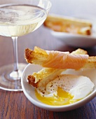 Smoked Salmon Wrapped Bread Sticks; Poached Egg
