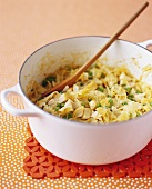 Pot of Farfalle Pasta with Chicken and Peas