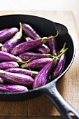 Organic Asian Eggplants in Cast Iron Skillet