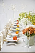 Pretty Spring Table Set with Tulips, Poppies and Assorted Spring Flowers