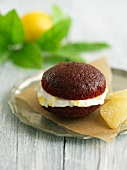 Red Velvet Whoopie Pie with Ginger Lemon Cream