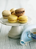 Assorted Macaroons on a Marble Pedestal Dish