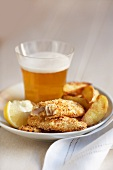 Fish and chips with a glass of beer