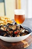 Steamed mussels and a glass of beer
