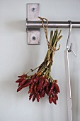 Dried red chilli peppers hanging from a stainless steel bar
