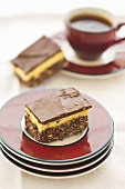 Continental slice (chocolate and vanilla slice) and coffee