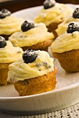 Passionfruit cupcakes with blueberries