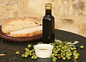Bread, cold-pressed olive oil and olives, Perugia, Umbria, Italy