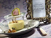 Chanterelle mushroom and potato soup with duck breast roulade