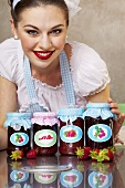 A retro-style girl with homemade jam