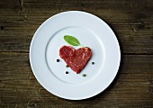 Fresh beef fillet in a heart-shape