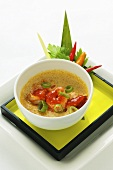 Steamed egg with spicy Szechaun prawns (Asia)