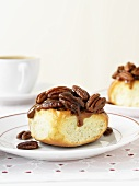 Sticky Pecan Date Bun (sweet bread roll with pecan nuts and dates)