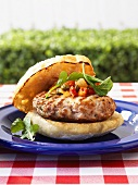 Mediterranean burger with tomato caper relish