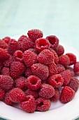 Fresh raspberries on a plate