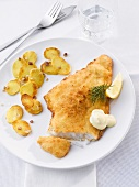 Breaded fish fillet with fried potatoes